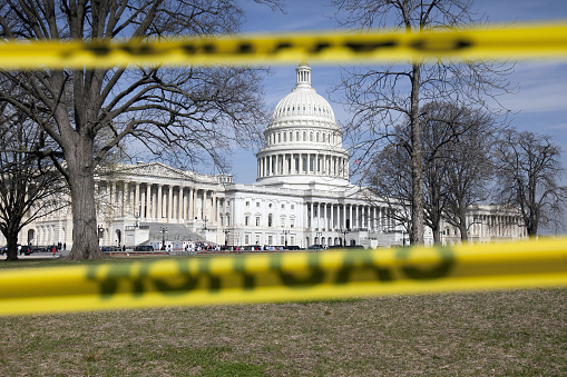 White House surrounded by caution tape